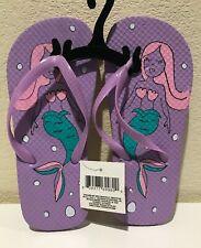 Mermaid Girls Kids Purple Beach Pool Flip Flops Print Footbed Sz L 2-3