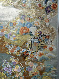 "Japanese Kimono SILK Fukuro OBI, Rokutu , Gold, Plants,Birds,Coach,174""...1465"