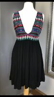 Black  Womens Atmosphere Dress Sz S 10-12 Strapless Aztec  Boho Festival Holiday