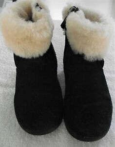 Ugg - Dark Blue Suede - Fur Top Baby Girls Ankle Boots - Size 7 (25) - Excellent