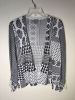 Chico's Size 1  White & Black Long Sleeve Open Front Cardigan  Sweater EC