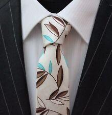 Tie CRAVATTA SLIM bianco sporco con foglie marrone e blu cotone di alta qualità T6182