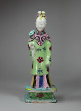 Antique Chinese polychrome biscuit figure of the immortal He Xian-gu, Qianlong (