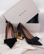 Marni Black Embellished Bow tie double satin silk pumps shoes for women UK3 35.5