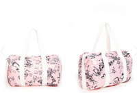 "GUESS Graffiti Print Duffle Bag in Pink-White-Black Nylon& White Trim S""16"" x11"""