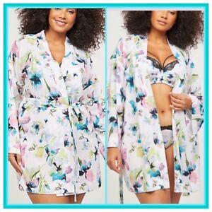 NWT Cacique Plus Size Lane Bryant BUTTERFLY FLORAL Short Kimono 22 24 2x 3x $70