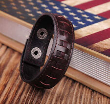 Alloy Snap Wristband Bracelet Cuff New Ng351 Dark Brown Cute Braided Leather