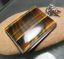 Sterling silver chunky 27gr cabochon blue tiger's eye pendant. Gift Bag.