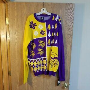 Minnesota Vikings Ugly Christmas Holiday Sweater NFL Team Apparel 2XL NWT
