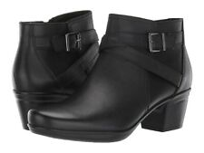 CLARKS Women's Emslie Cyndi Ankle Boots - Black Leather -Size 10 NEW