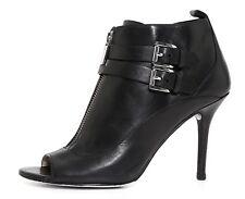 Michael Kors Brena Leather Open Toe Bootie Black Women Sz 6.5 M 1230