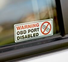 Warning OBD Port Disabled Internal Fit Car Window 80mm x 30mm Printed Stickers