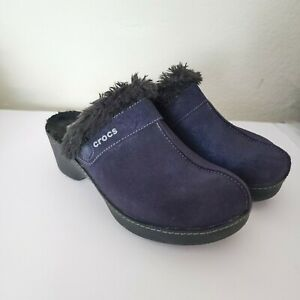 Crocs Faux Fur Lined Blue Suede Clogs 8 Metallic Slip On Mules Women