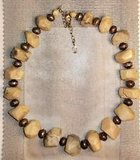 FABULOUS Vintage Stone/Marble and Sterling Beaded Necklace signed JRI .925 USA