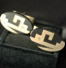 Vintage Sterling Onyx Inlay Oval Cufflinks Mexico