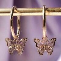 2020 Fashion Gold Butterfly Earrings Hoop Drop Dangle Ear Women Jewelry Gifts