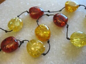 Hand Knotted Necklace w/ Resin Beads, Barrel Clasp in Amber & Topaz Shades