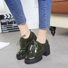 Women Chunky Block High heel Platform Brouge Round toe Creeper Shoes Oxfords uk7