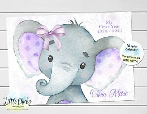 Purple Elephant Baby's First Year Calendar, Personalized Calendar for baby