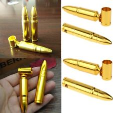 80mm Smoking Pipe Aluminum Bullet Golden Tobacco Cigarette Cigar Pipes Holder