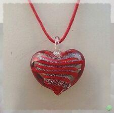 Pendentif Coeur Tullia Argent Et Rouge Verre Soufflé Style Murano