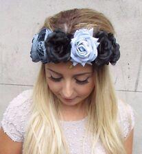 Large Gris Bleu Noir Fleur Rose Bandeau Guirlande De Fleurs Cheveux Couronne