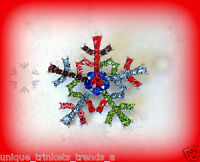 PINK BLUE GREEN RED PURPLE CRYSTAL WINTER SNOWFLAKE CHRISTMAS GIFT PIN BROOCH
