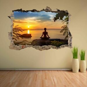 Yoga Meditation Sunset Silhouette 3D Wall Stickers Mural Decal Home Decor DH24