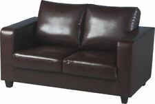 Excellent Quality 2 Seater Sofa Brown Faux Leather - Brand New - Fast Delivery