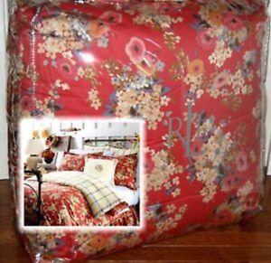 Brand New RALPH LAUREN Madeline Red Floral TWIN COMFORTER Windowpane