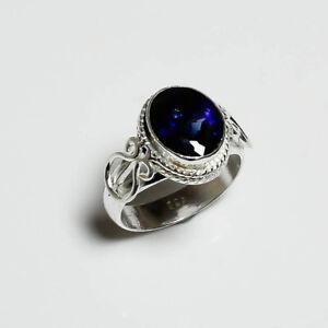 AAA Blue Sapphire Ring 925 Silver Sterling Handmade Gemstone Boho Jewelry New