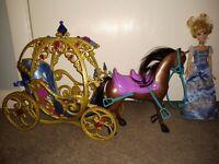 Mattel Disney Princess Horse- drawn Carriage 2014 & Mattel Cinderella doll 1999