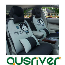 Universal Car Seat Cover Set Cartoon Grey&Black Cat for Prado Kluger Aurion Echo