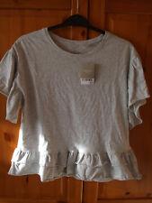 Next Girls Grey Ruffle Hem Short Sleeve T-Shirt Size 12yrs BRAND NEW WITH TAGS