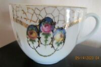 Antique Porcelain China Mustache Cup Pink/ Yellow Roses