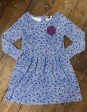 Joules Girls Floral Dress 7-8 Years Blue Long Sleeves