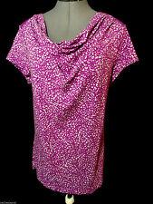 MERONA Drape scoop neck Tee shirt top L Berry Violet abstract Peasant Short Slv