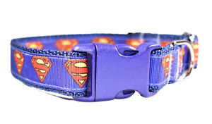 Superman Blue Red Adjustable dog puppy collar boy small medium