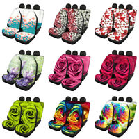 Floral Car Seat Covers Full Set Front and Rear Universal Fit Automotive Interior