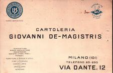 1940 CARTOLINA PUBBLICITARIA -CARTOLERIA GIOVANNI DE-MAGISTRIS - MILANO C9-1424