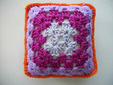 "Mini Crochet Square Cushion/Pillow,Dolls house,Pincushion,Decorative,Purple,5"""