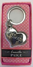 PAIGE Camille heart silver color personalized KEYCHAIN BRAND NEW IN PACKAGE