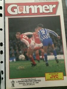 arsenal v manchester united 1987-88 fa cup programme
