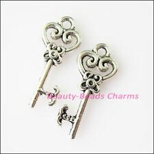 10Pcs Antiqued Silver Tone Heart Flower Keys Charms Pendants 9x21mm