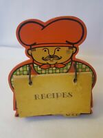Vintage Fitz & Floyd Mid Century Orange Wood Chef Recipe Card stand Japan