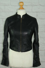 RIVER ISLAND Black Genuine Soft Leather Full Zip Jacket Size 12
