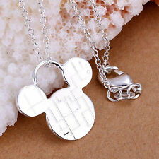 Women's Girl's 925 Sterling Silver Cartoon Mickey Mouse Pendant Chain Necklace