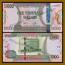 Guyana 1000 (1,000) Dollars, 2011 P-39  Sig# 14 New Security Thread Unc