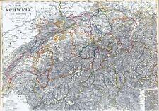Echte 165 Jahre alte Landkarte SCHWEIZ Helvetia Eidgenossen Switzerland 1852