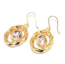 Technibond Amethyst Gemstone Dangle Drop Earrings 14K Yellow Gold Clad Silver